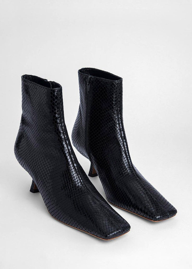 By Far Lange Ankle Boot in Black Snake Leather