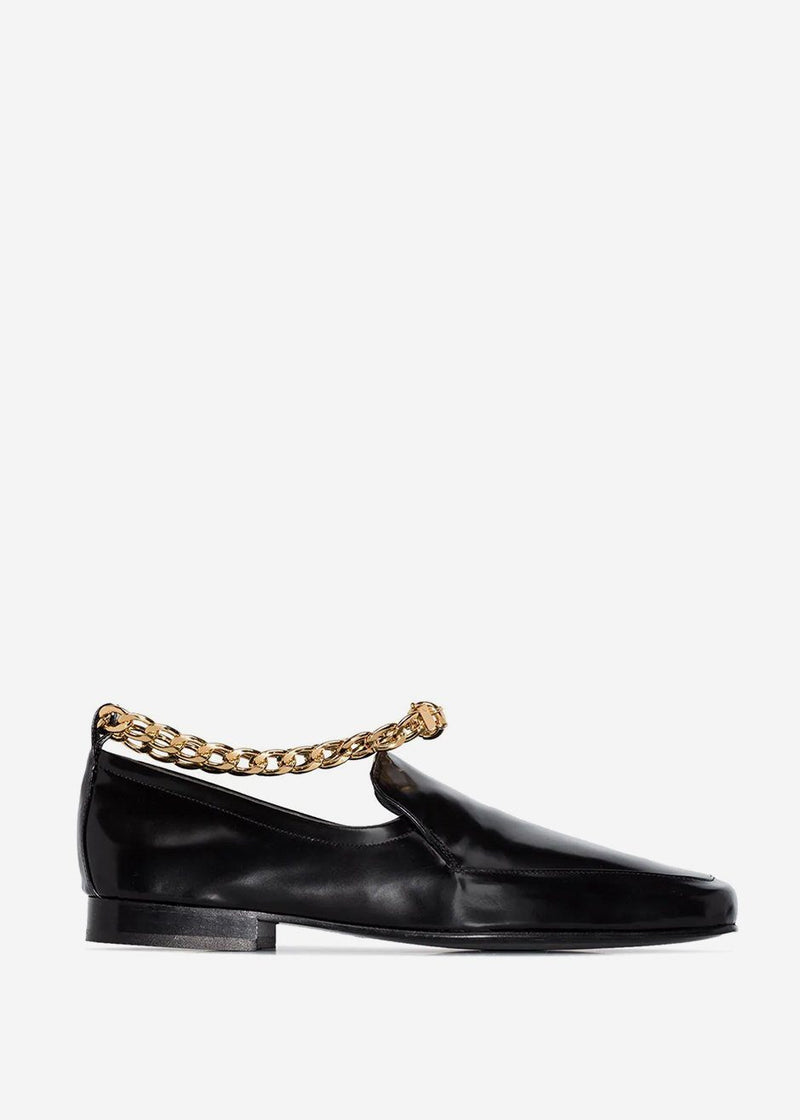 By Far Nick Chain Anklet Loafers in Black Semi Patent Leather Shoes By Far