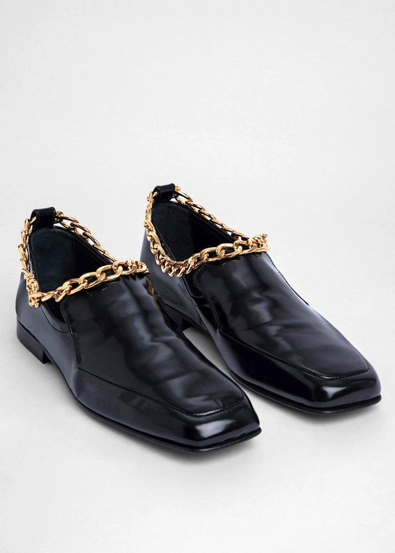 By Far Nick Chain Anklet Loafers in Black Semi Patent Leather