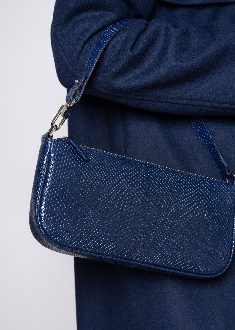 By Far Rachel Bag in Deep Blue Snake Print Leather Bag By Far