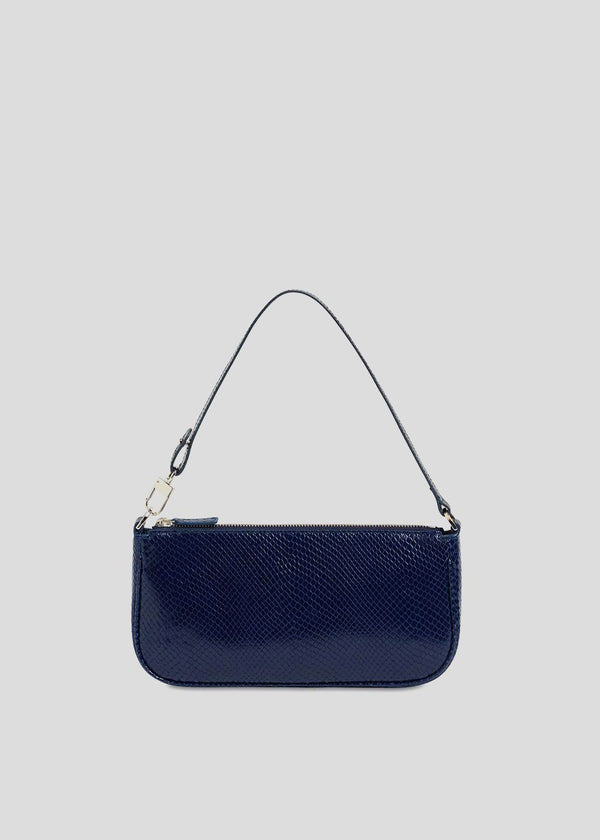 By Far Rachel Bag in Deep Blue Snake Print Leather