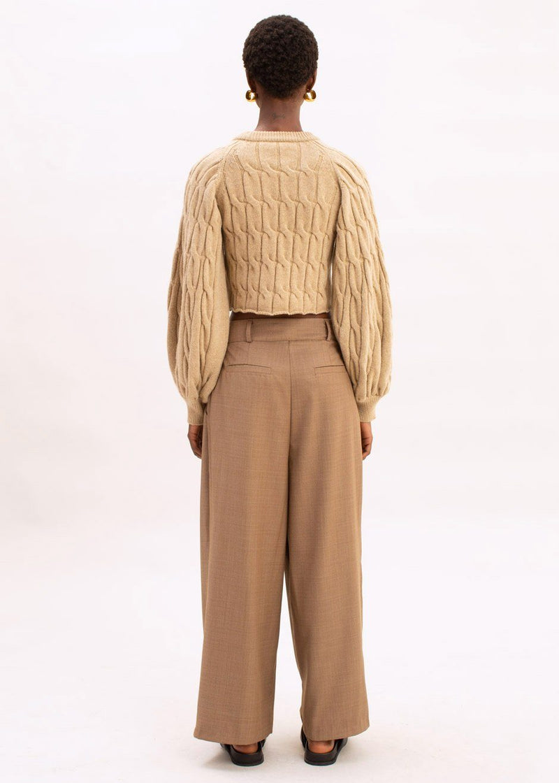 Cable Knit Cropped Sweater by Ter et Bantine in Beige Sweater Ter et Bantine