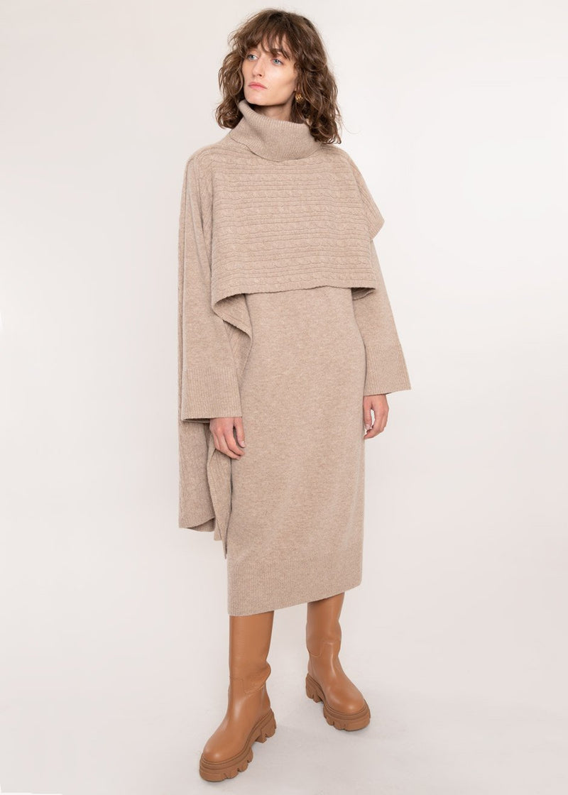 Cable Knit Roll Neck Poncho Wrap in Mushroom Poncho Another.J