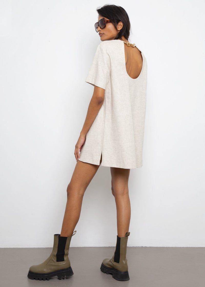 Chain Back Dress in Oatmeal Dress The Frankie Shop