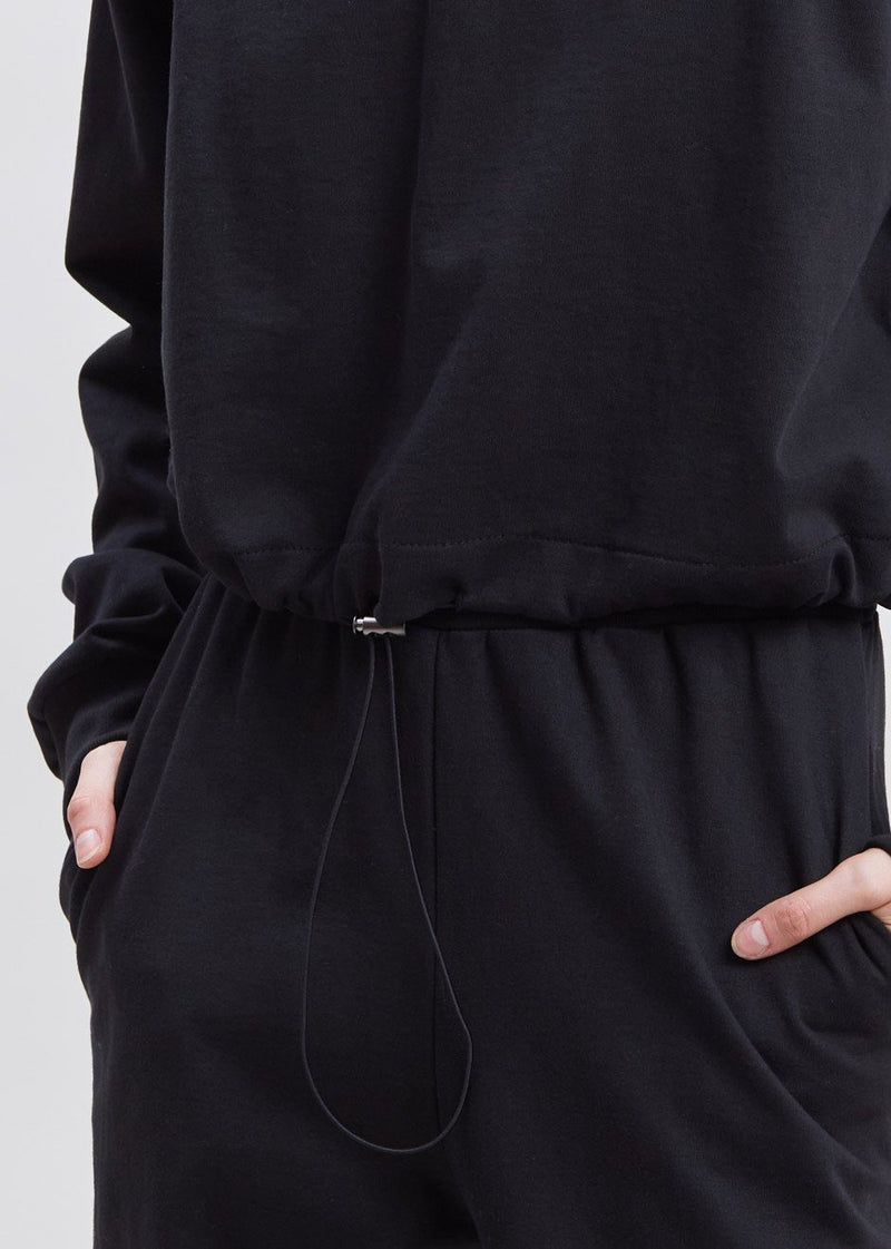 Cinch Hem Padded Shoulder Sweatshirt in Black Sweatshirt The Frankie Shop