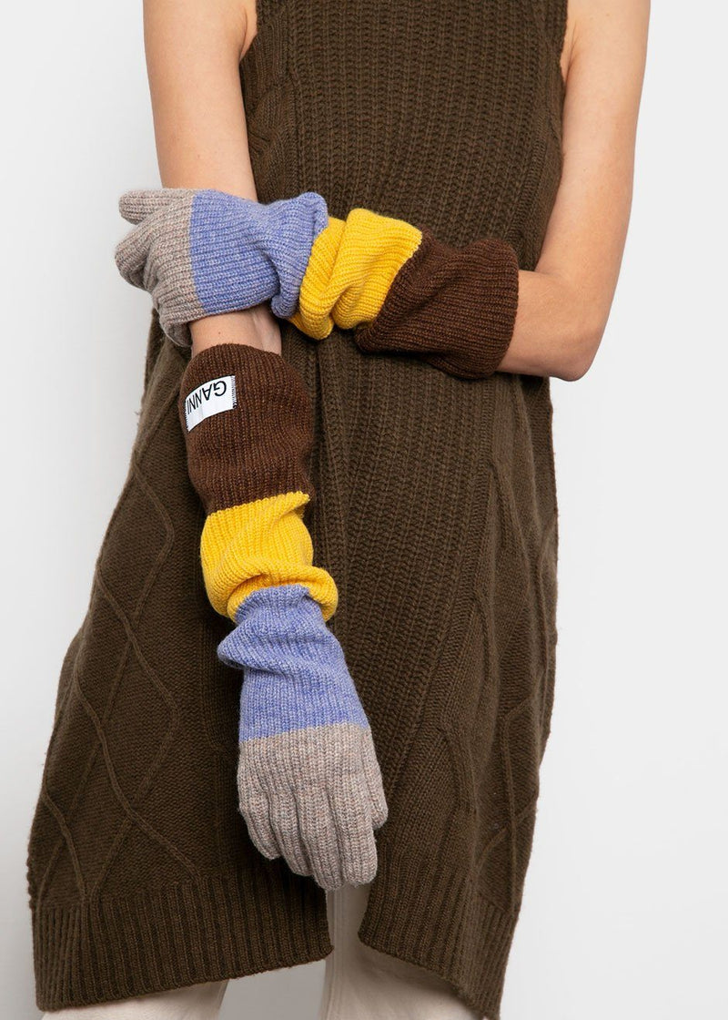 Colorblock Knit Gloves by Ganni- Chicory Coffee Gloves Ganni
