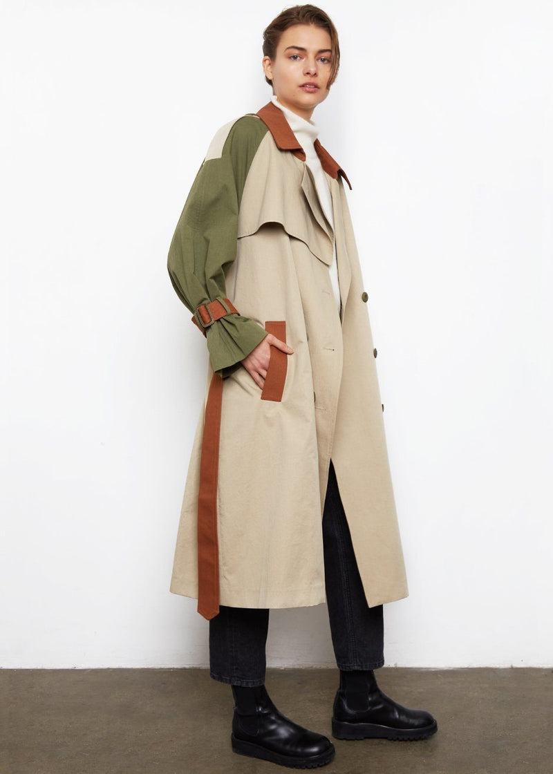Colorblock Trench Coat- Khaki & Olive Coat Kiki Love