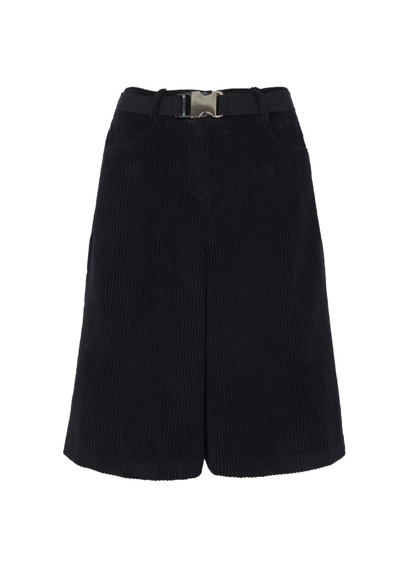 Corduroy Trouser Shorts- Black Shorts Beside You