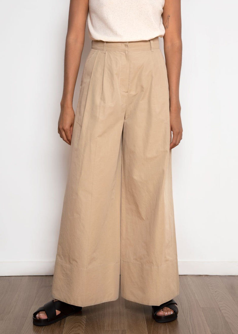Cotton Blend Palazzo Pants - Camel Pants Mainstay