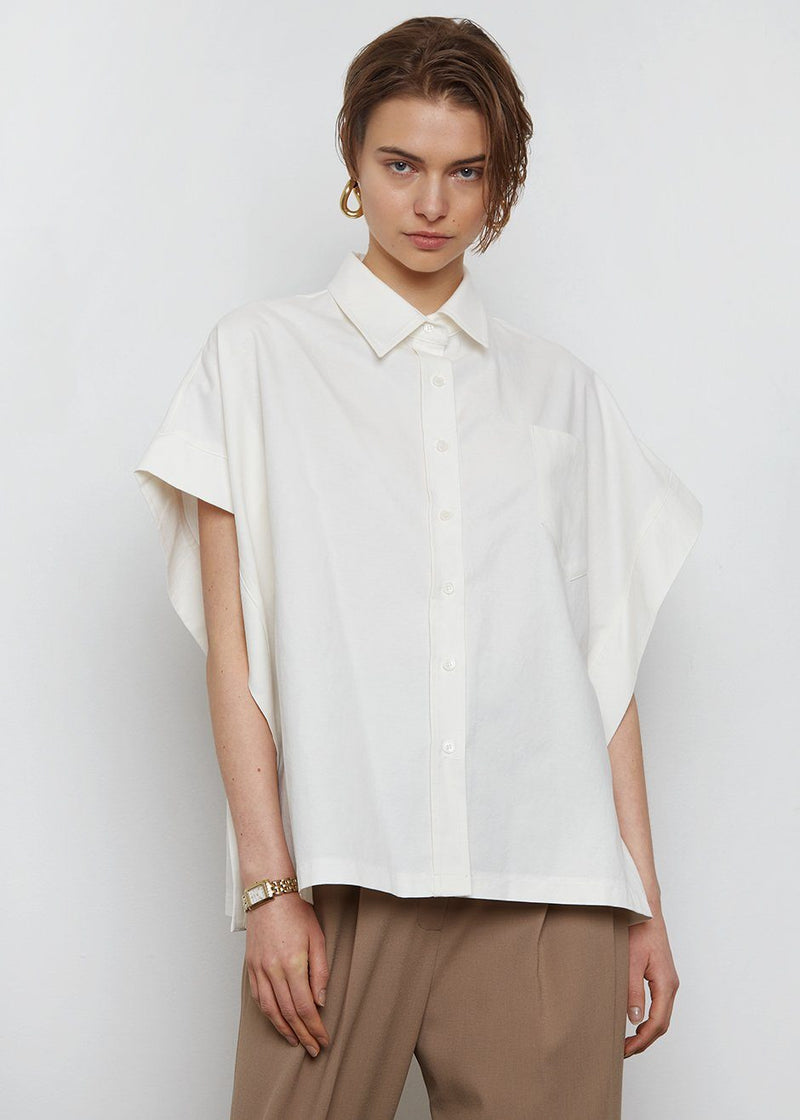 Cream Tencel Cape Shirt Shirt The Frankie Shop