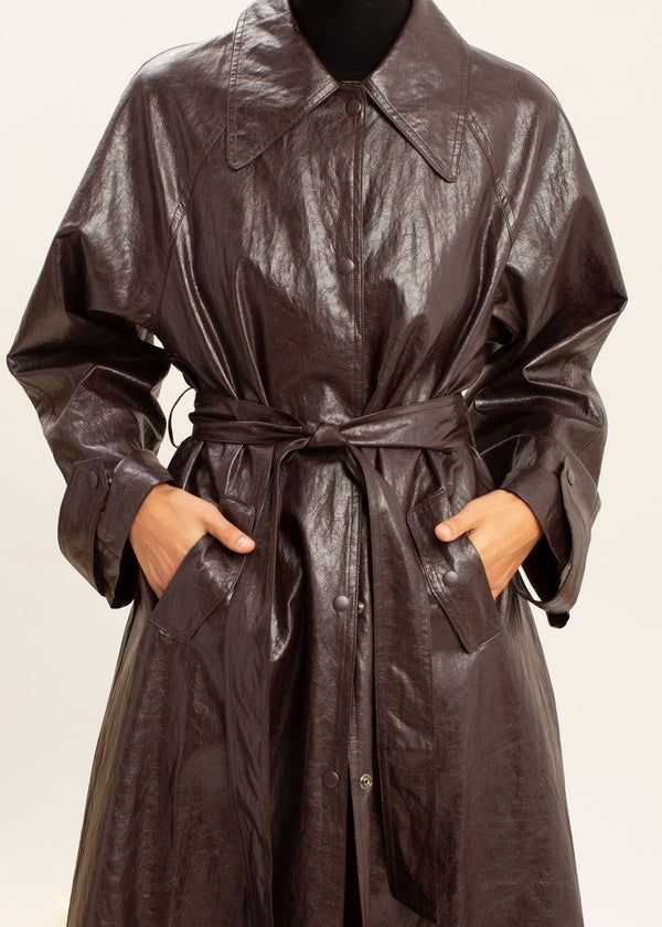 Crinkle Faux Leather Trench Coat in Huckleberry Coat The Frankie Shop