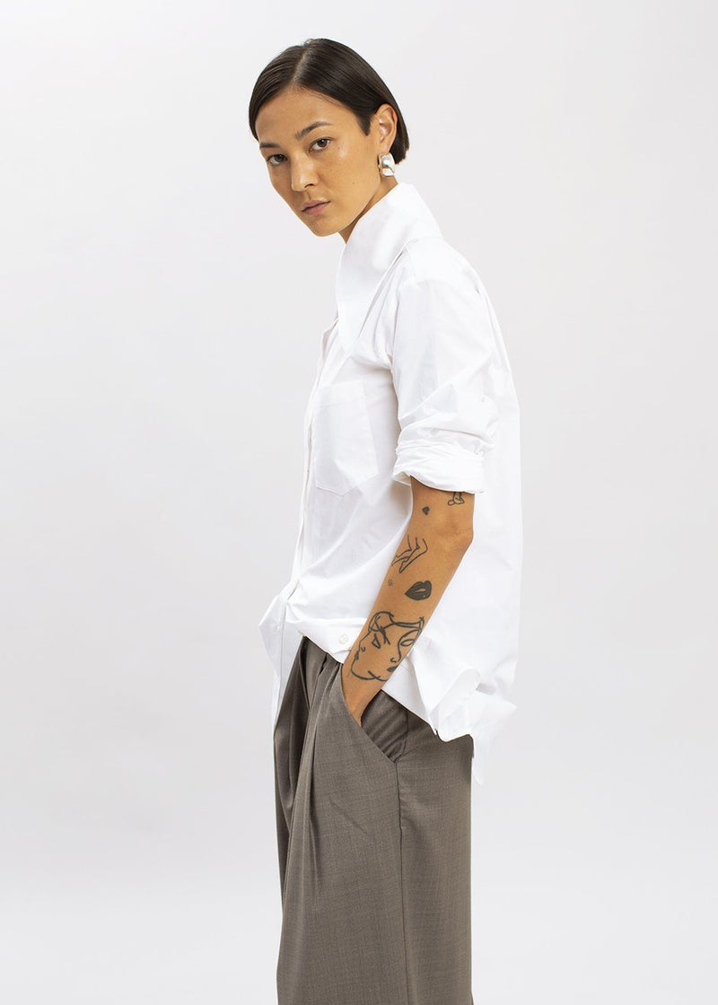 Crisp Cotton Pointed Collar Shirt by Ter et Bantine in White Shirt Ter et Bantine