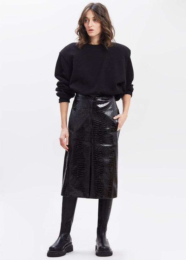 Croc Embossed Patent Midi Skirt in Black