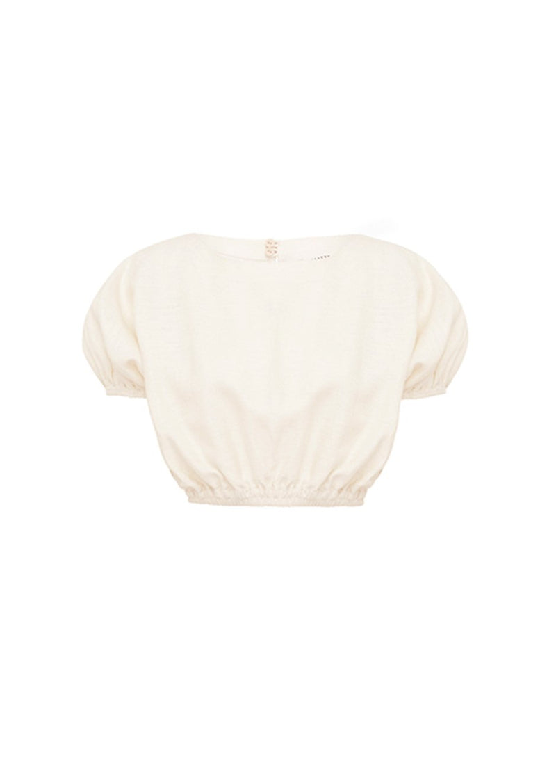 Cropped Cocoon Blouse by Matteau- Ivory Top Matteau