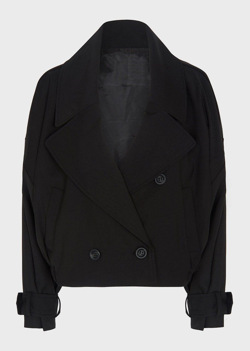 Cropped Double Breasted Trench Jacket in Black