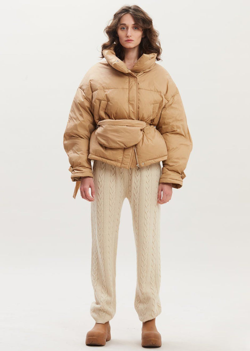Cropped Puffer with Fanny Pack in Toast Jacket L'odeur