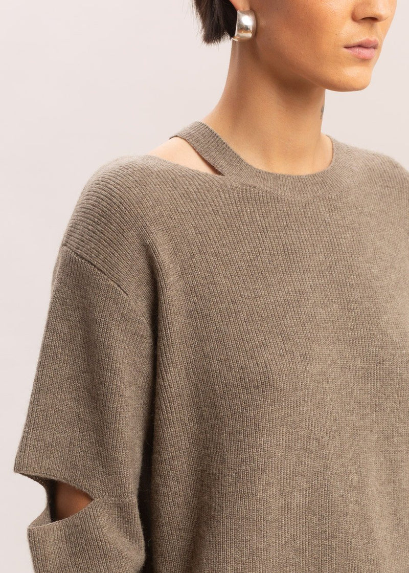 Cut-Out Ribbed Sweater in Oatmeal Sweater La Vie