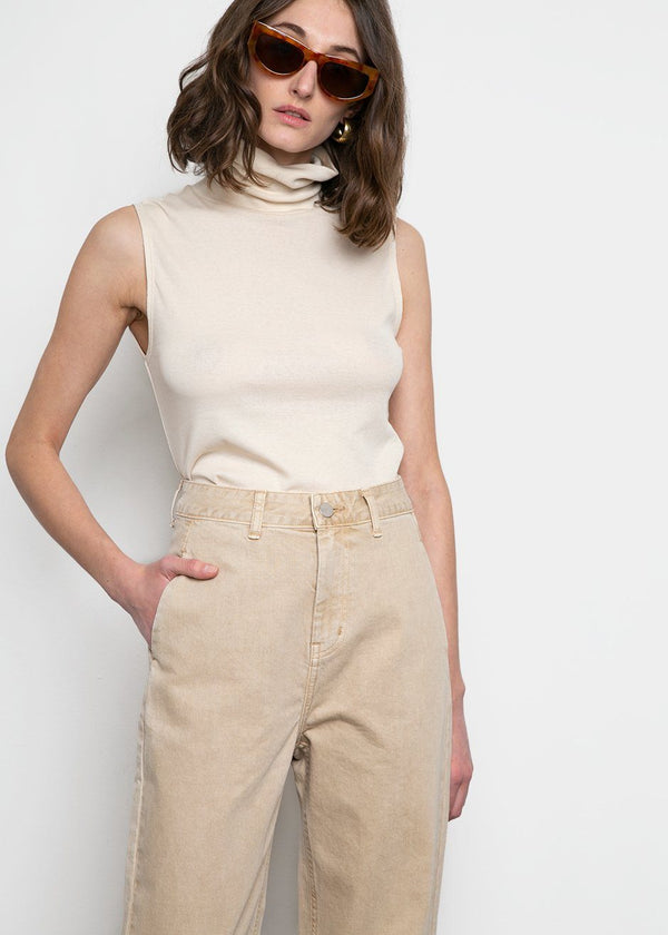 Denim Pants by Amomento- Beige Jeans Amomento