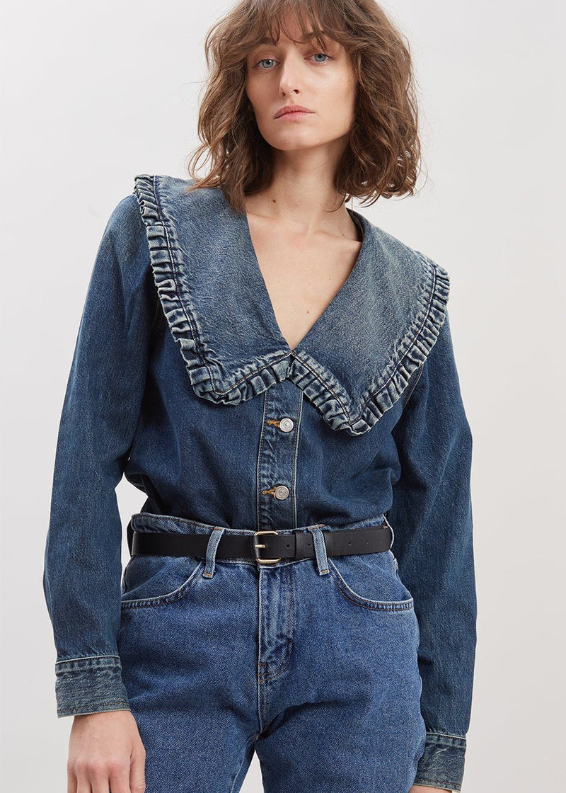 Denim Shirt with Ruffle Collar by GANNI in Tint Wash Shirt Ganni