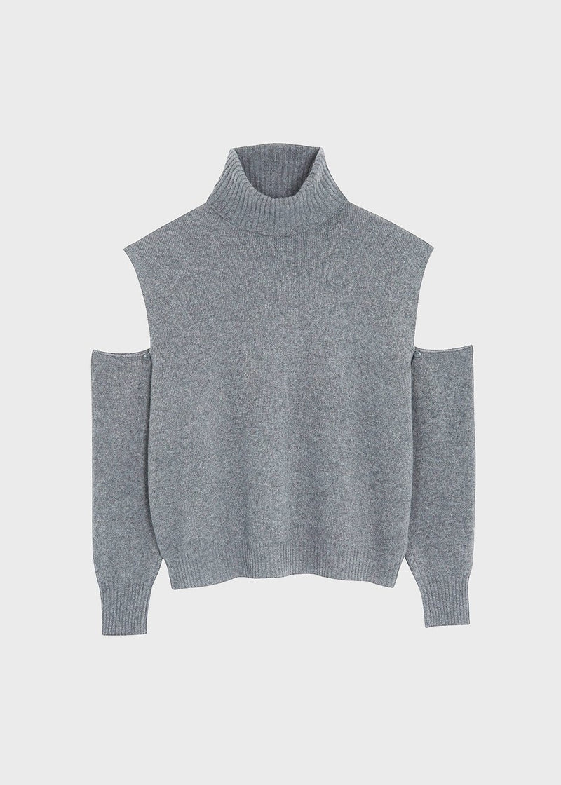 Detachable Sleeve Turtleneck Sweater in Storm Grey Sweater La Vie