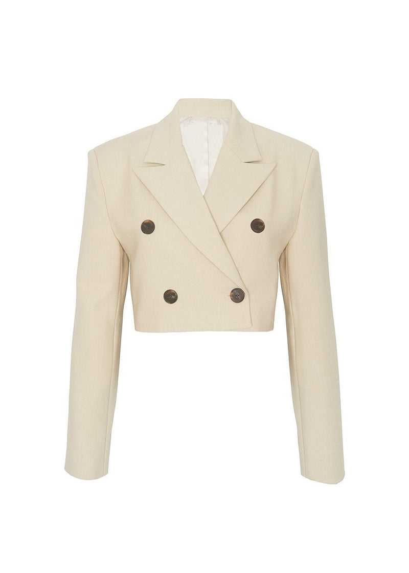Double Breasted Cropped Blazer in Sesame Beige Blazer Stage