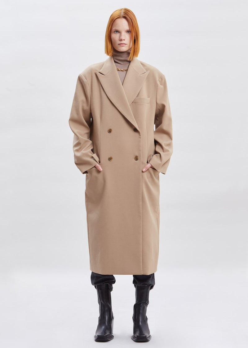 Double Breasted Tailored Suit Coat in Desert Sand Coat The Frankie Shop