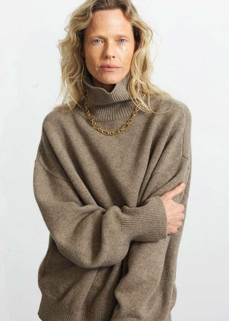 Drop Shoulder Roll Neck Sweater in Fog Sweater Another.J