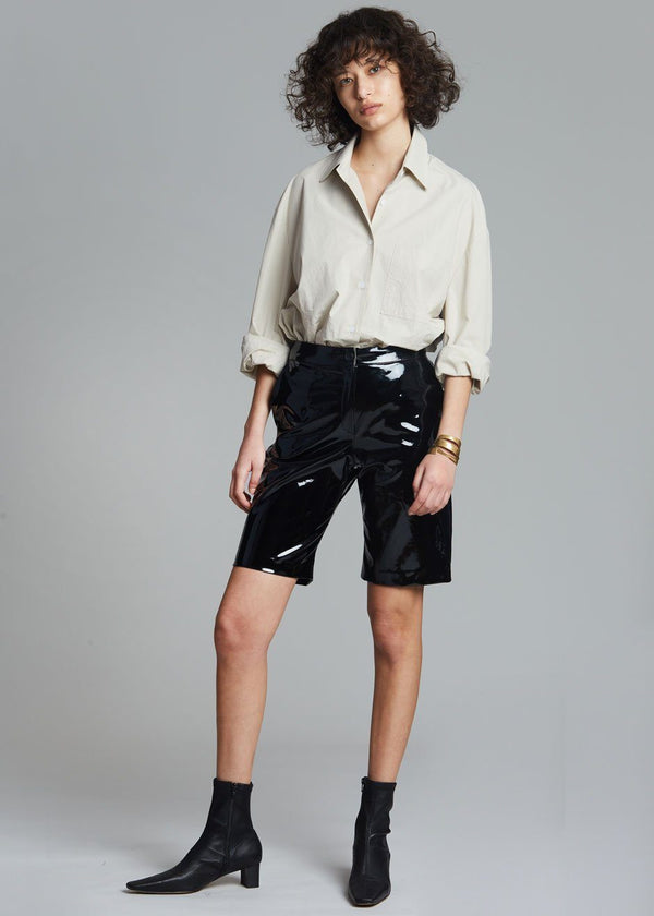 Eden Sleek Patent Shorts in Black Shorts The Frankie Shop