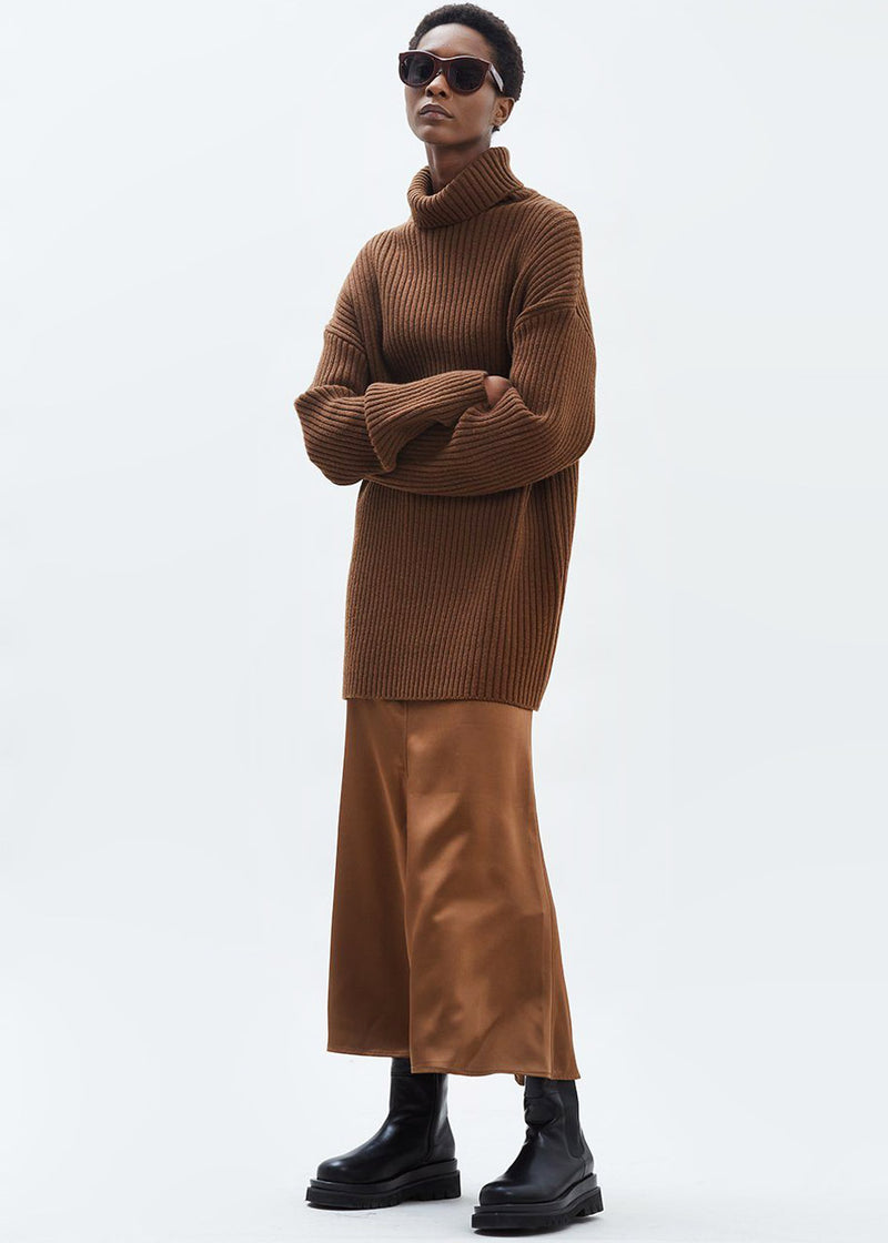 Elongated Rib Roll Neck Sweater in Chocolate