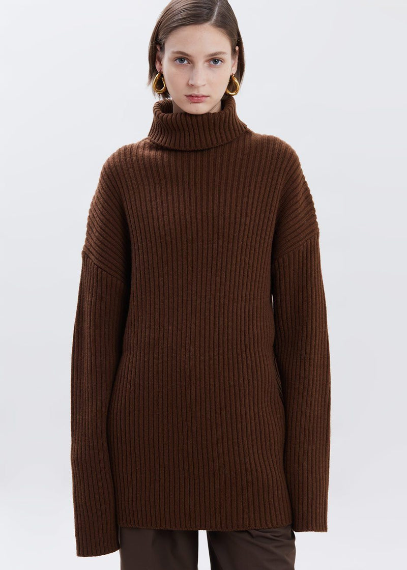 Elongated Rib Roll Neck Sweater in Chocolate Sweater Paper Moon