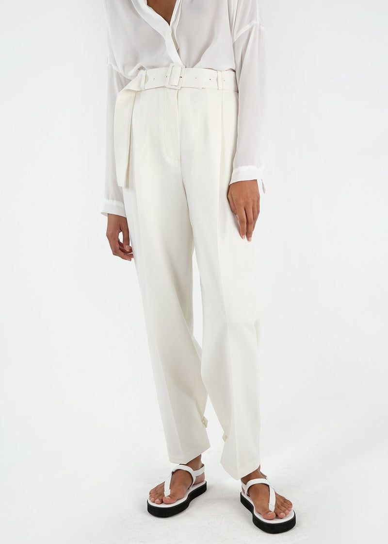 Elvira Belted Suit Pants with Button Tab Cuff in White Pants Blossom