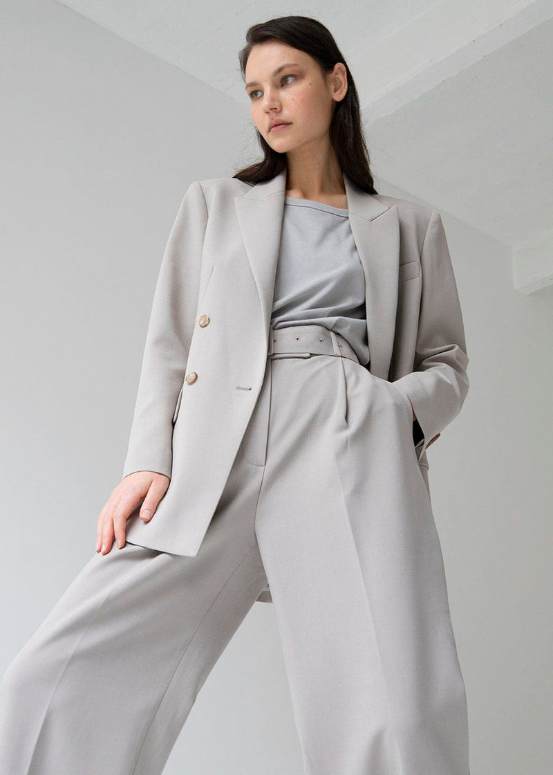 Elvira Double Breasted Suit Blazer in Grey