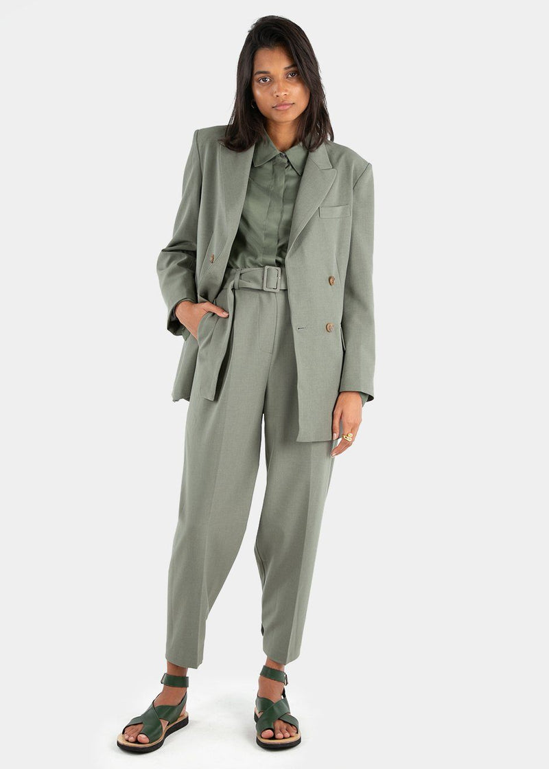 Elvira Double Breasted Suit Blazer in Khaki Green Blazer Blossom