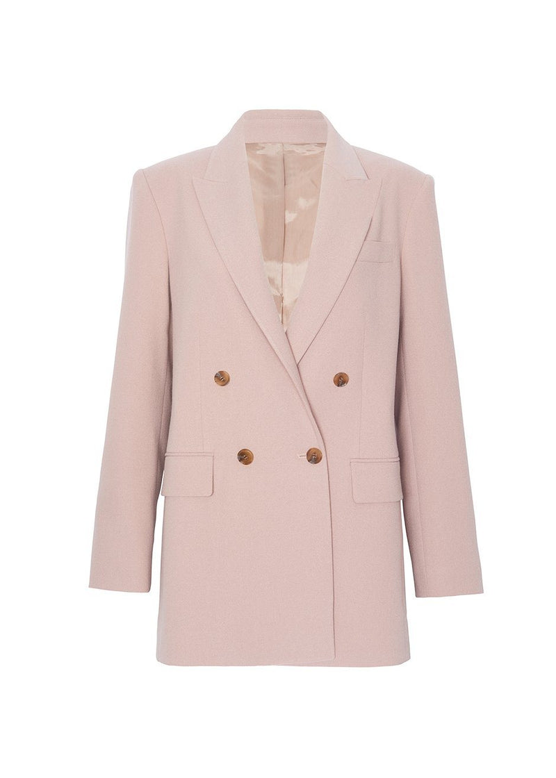 Elvira Double Breasted Suit Blazer in Pink Blazer Blossom