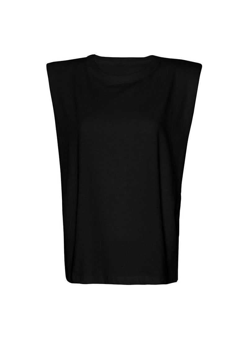 Eva Padded Shoulder Muscle T-Shirt in Black top The Frankie Shop
