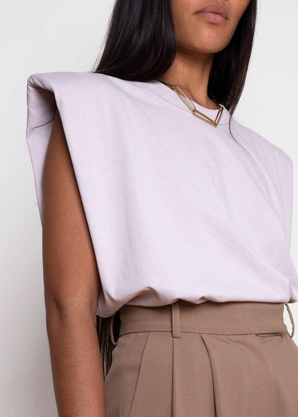 Eva Padded Shoulder Muscle T-Shirt in Lilac Top Forming