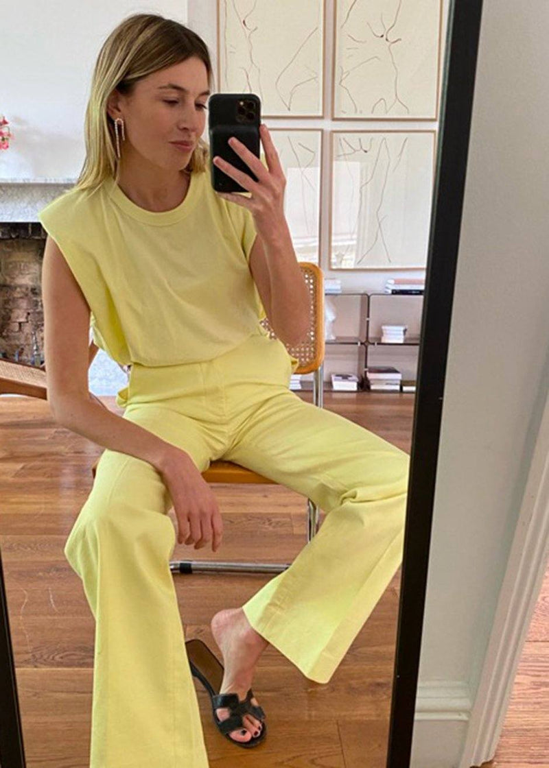 Eva Padded Shoulder Muscle T-Shirt in Pale Yellow- Frankieshop x CamilleCharrière top The Frankie Shop