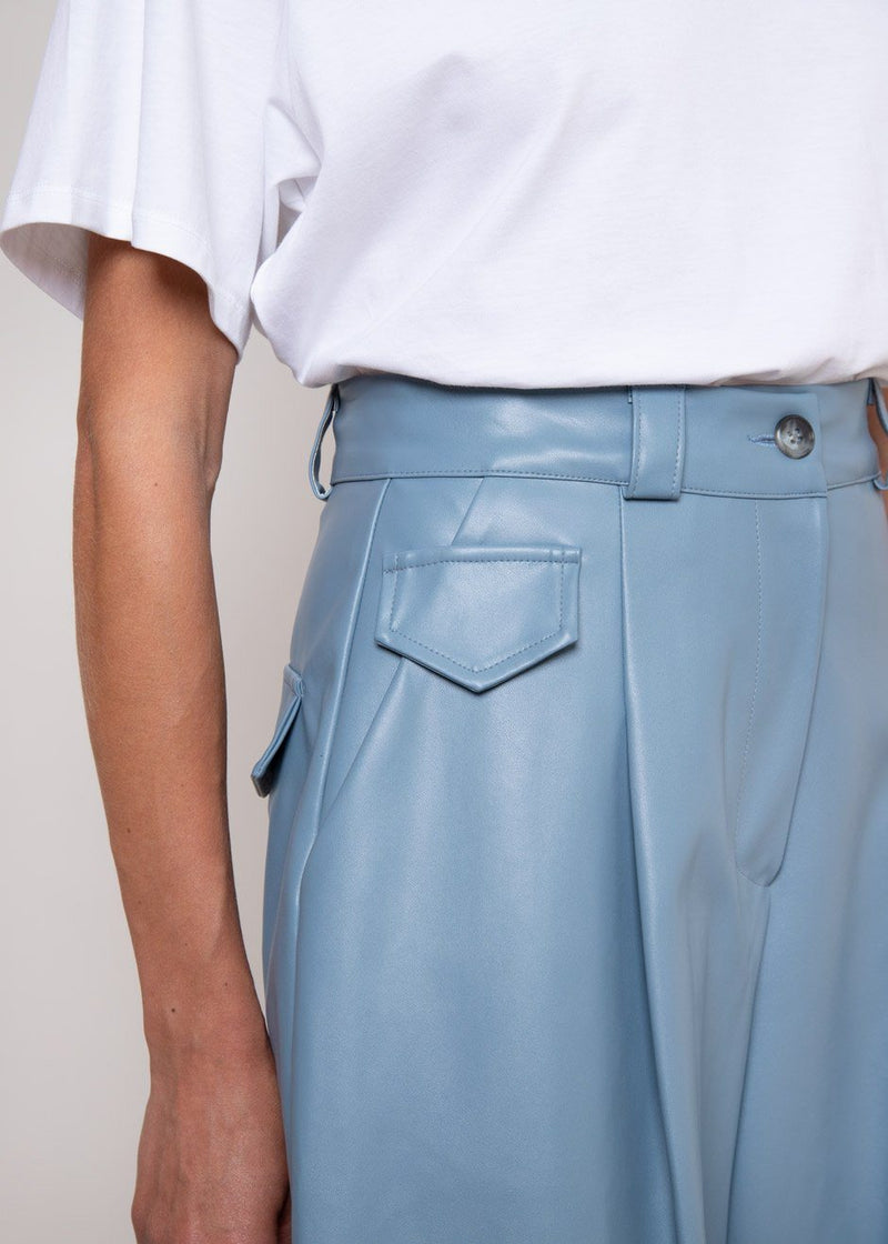 Faux Leather Bermuda Shorts in Cerulean Shorts The Frankie Shop