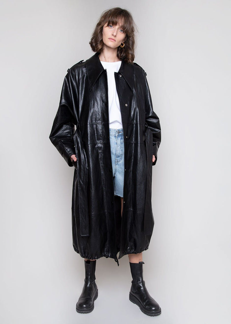 Faux Leather Coat by Low Classic in Black
