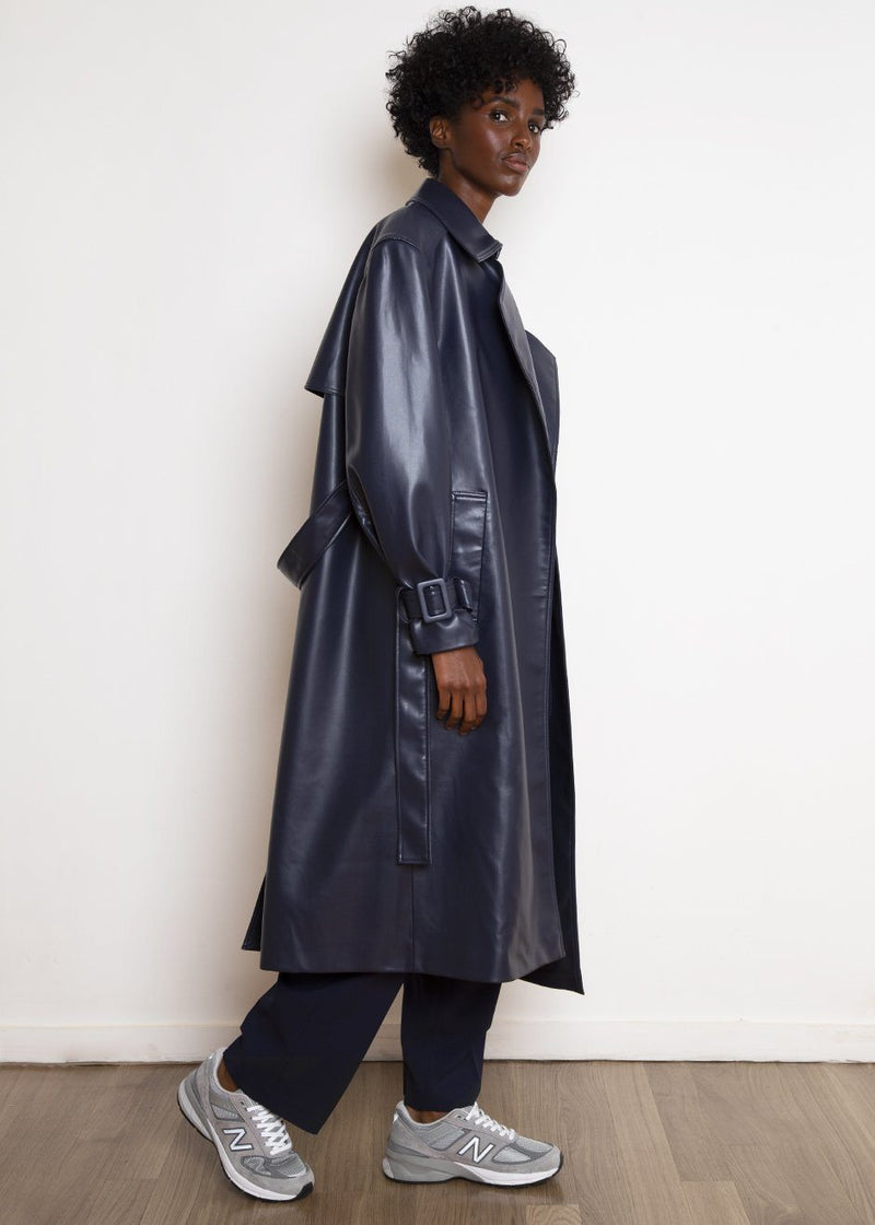 Faux Leather Padded Trench in Navy Coat The Frankie Shop