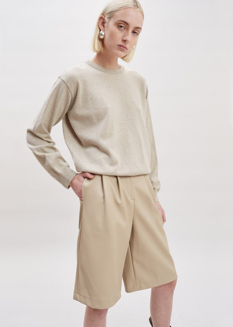 Faux Leather Pleat Front Bermuda Shorts in Clay