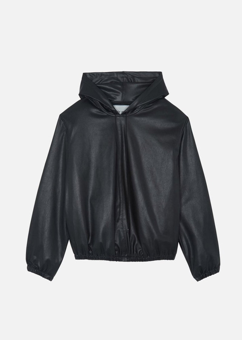 Faux Leather Pullover Hoodie in Black