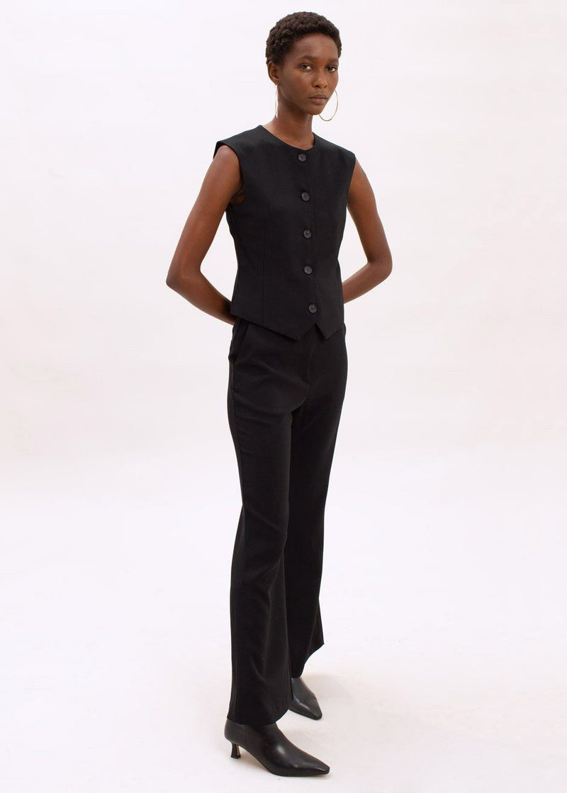 Flare Leg Suit Pants in Black Pants The Frankie Shop