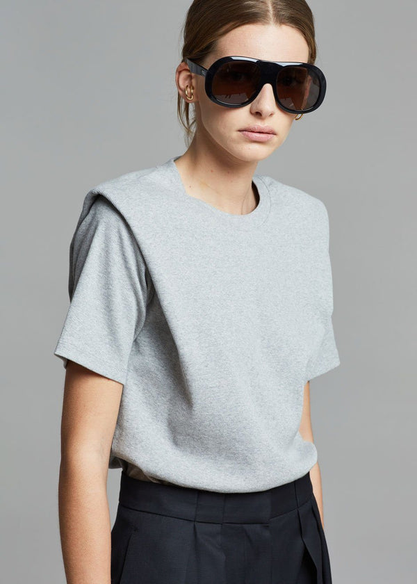 Flora Ribbed Padded Shoulder Tee - Heather Grey top The Frankie Shop
