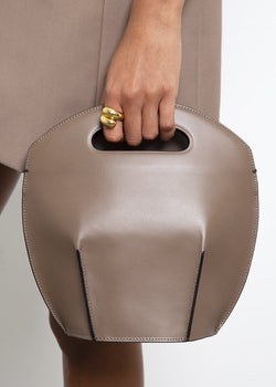 Leather Bucket Bag by Low Classic in Grey Brown