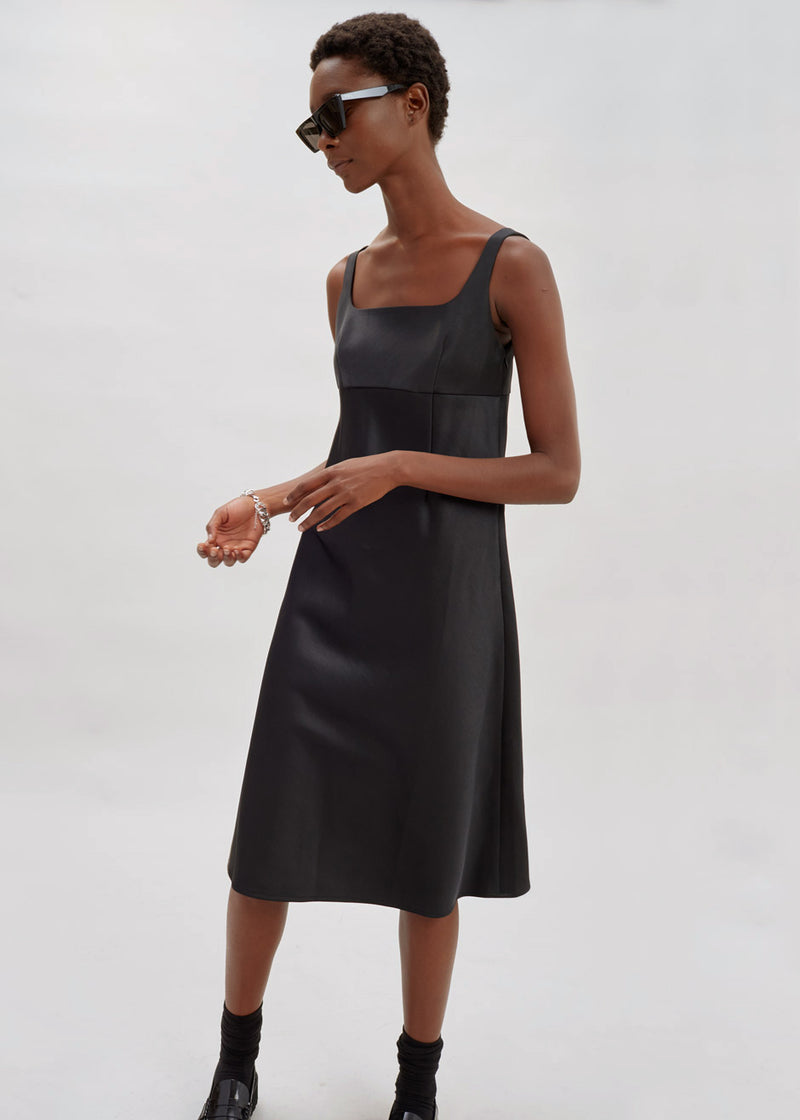 Audrey Satin Midi Dress in Black