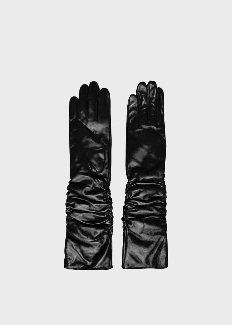 Ruby Long Leather Gloves by Gestuz in Black