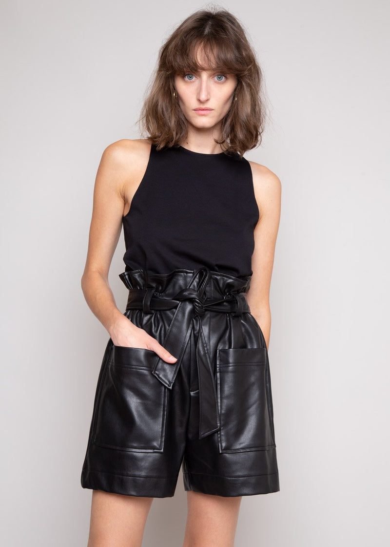 Alex Leather Paperbag Shorts in Black