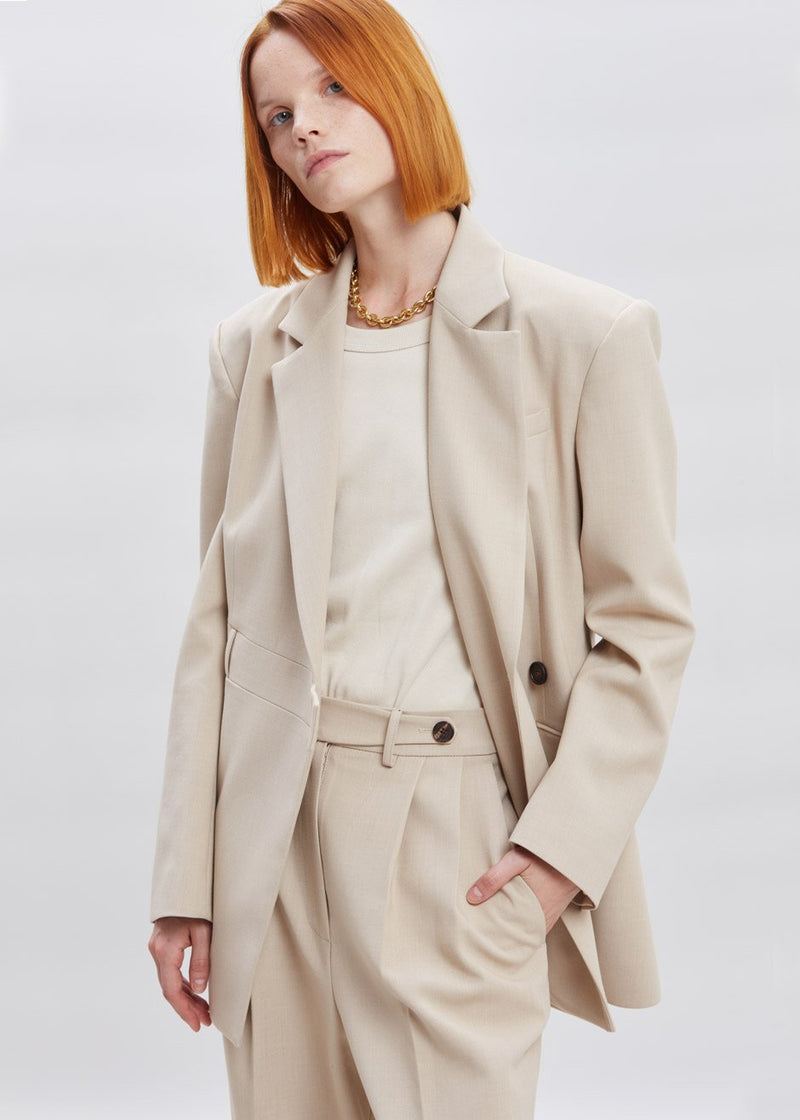 Waist Tab Pleat Front Trousers in Winter Sand