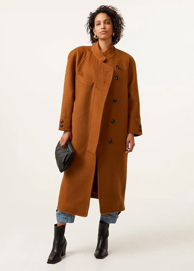 Wolina Wool Blend Coat by Gestuz in Rubber